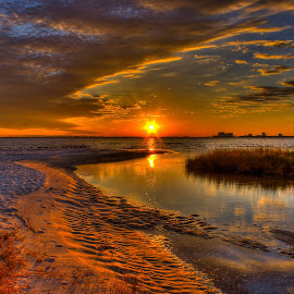 Mississippi Sunset by Jim Howton - Landscapes Sunsets & Sunrises ( biloxi, bay, sunset, seagulls, mississippi )