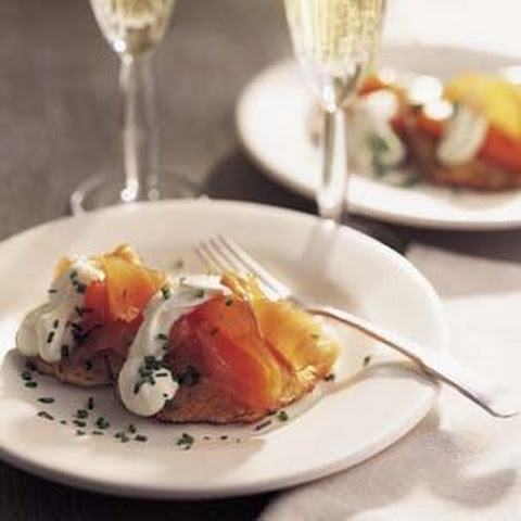 Corn Cakes with Smoked Salmon and Crème Fraîche