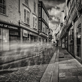 Mercery Lane Ghosts by Dan Horton-Szar ARPS - City,  Street & Park  Street Scenes ( monochrome, canterbury, black and white, infrared, kent, street, architecture, ghost, urban, shops, buildings, long exposure, town )
