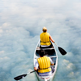 row into surreality by Pane de Mesa - People Couples ( clouds, reflection, rowing, paddling, canoe, still, couple, paddle, row, river,  )