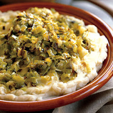 Mashed Potatoes with Garlic, Mascarpone, and Caramelized Leeks