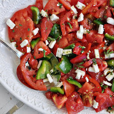 Heirloom Tomato Salad with Feta & Oregano Flowers