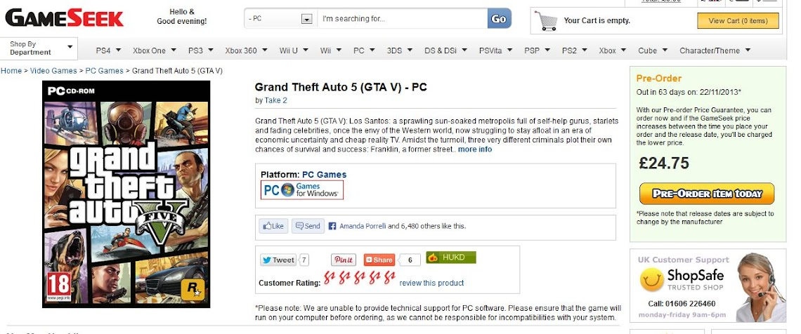 PC version of GTA V listed by online retailer for release next month