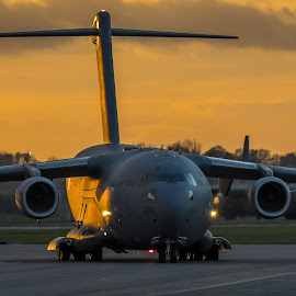The last Golden rays by Nigel Conniford - Transportation Airplanes ( c-17, sunset, raf )