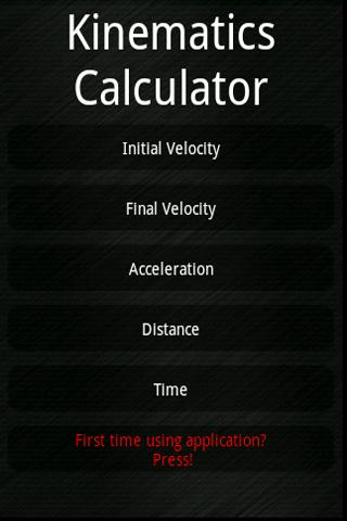 Kinematics Calculator