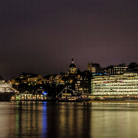 Stockholm by night by Alexander Arntsen - City,  Street & Park  Night ( water, sweden, building, stockholm, ship, d7000, buildings, long exposure, night, cityscape, nikon, city )