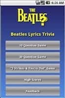 Screenshot of Beatles Lyrics Trivia