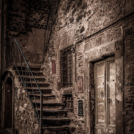 Love of italia by Sheldon Anderson - Buildings & Architecture Architectural Detail ( old, b&w, stairs, old world, italy )