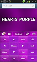 Screenshot of Hearts Purple Keyboard GO