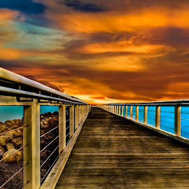 The Pier by Simon Tidd - Buildings & Architecture Bridges & Suspended Structures ( qld, bay, sunset, brisbane, sea, pier, jetti, beach, jetty, wellington point )