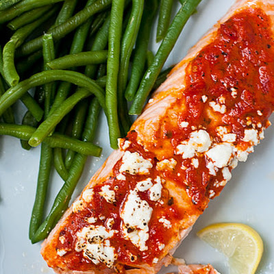 Salmon With Roasted Red Pepper Tapenade & Goat Cheese