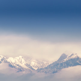 Kanchenjunga View by Aritra Roy - Landscapes Mountains & Hills ( sunchine, clouds, hill, hills, sky, mountain, blue, heaven, kanchenjunga )