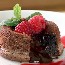 Molten Chocolate Cakes with Raspberry Sauce