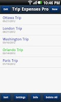 Screenshot of Trip Expenses Pro