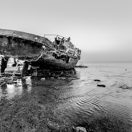 Dead  by Bakir Ali - Landscapes Beaches ( water, black and white, sunset, ship, boat, b&w, landscape,  )