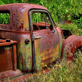 Old Rusty by Julie Dant - Transportation Automobiles ( orange truck, orange, antique trucks, nostalgia, vehicles, antiques )