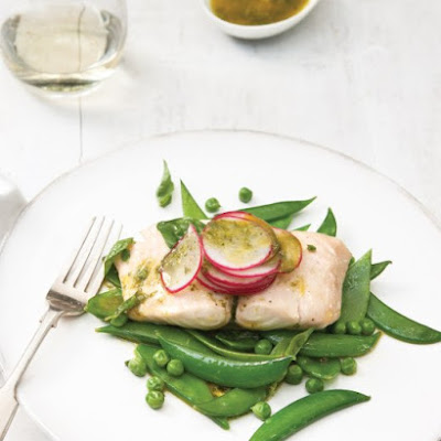 Steamed Cod and Mixed Green Peas with Basil Vinaigrette