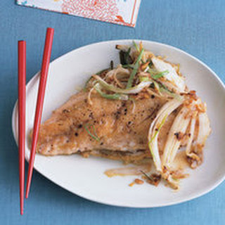 Ginger-Scallion Napa Slaw with Sizzly Five-Spice Snapper