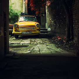 by Силвия Георгиева - Transportation Automobiles ( trabant, street, yellow )