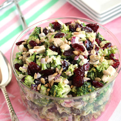 Chopped Broccoli Salad with Cherries and Feta