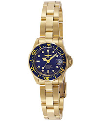 Invicta Women's Pro Diver Blue Dial 18k Yellow Gold Plated