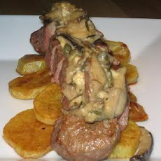 Lamb Leg Steak With Maple Chevre Shiitake Sauce