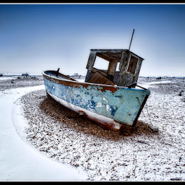 Dungeness delight by Ian Pinn - Transportation Boats ( cold, kent, snow, beach, dungeness, boat )