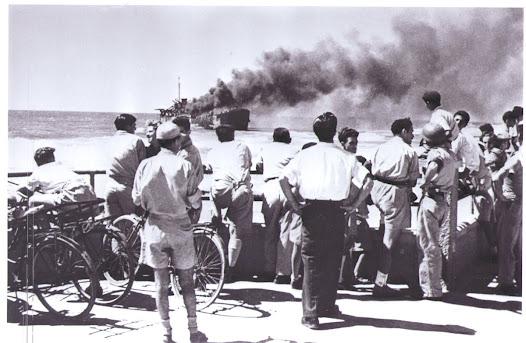 Altalena on fire after being shelled near Tel-Aviv. June 1948