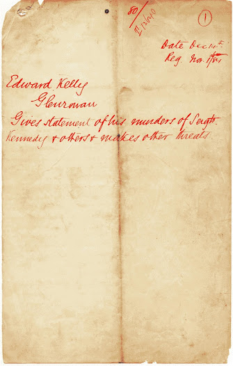 Copy of the Euroa Letter (or Cameron Letter) said to have been scribed by Joe Byrne on behalf of Ned Kelly while at Faithful's Creek. Click on the image to read a transcript of Ned Kelly's letter defending himself against the outstanding charges against him.