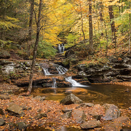 Waters Meet by Michael Sharp - Landscapes Waterscapes ( luzerne county, pa, waterfall, fall foliage, waters meet, pennsylvania, united states, ricketts glen state park )