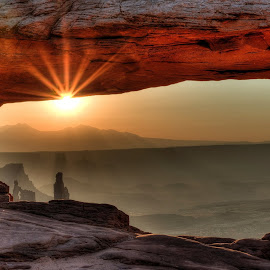 Mesa Arch at Sunrise by Margery Cortes - Landscapes Caves & Formations ( utah, canyon, sunrise, mesa arch )
