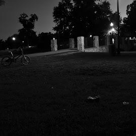 Bike by Brian Hughes - City,  Street & Park  City Parks ( bike, park, black & white, night, bicycle )