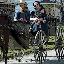 Amish Family by Christine B. - People Family ( amish, ohio, horse, wagon, kidron )