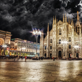 Piazza Duomo, Milano by Andrea Conti - City,  Street & Park  Historic Districts ( clouds, milan, moon, church, gallery, piazza duomo, galleria vittorio emanuele ii, architecture, duomo, buildings, night, cathedral, square, italy )