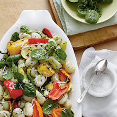 Roasted Vegetable Gnocchi with Spinach-Herb Pesto