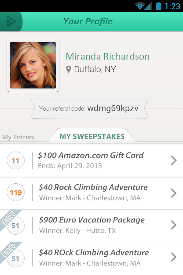 Sweepstakes App Screenshot 3