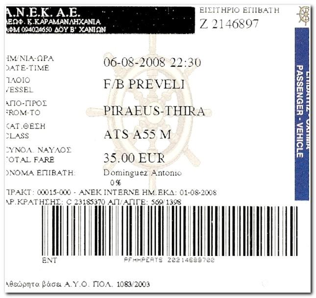 bilhete ferry Pireus Santorini