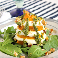 Golden Beet and Whipped Goat Cheese Salad with Walnut Mint Pesto