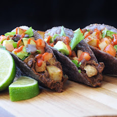 Blue Corn Tacos with Fried Potatoes