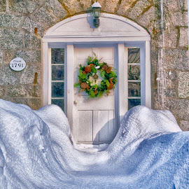 Snowy Entrance  by Alan Roseman - Buildings & Architecture Homes ( doorway, winter, new england, cold, mendon, snow, snowy, entrance,  )