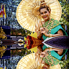 Queen of Reflections. by Ian Gledhill - Digital Art People ( parade, woman, street, asia, thailand, festival, women, people, culture,  )