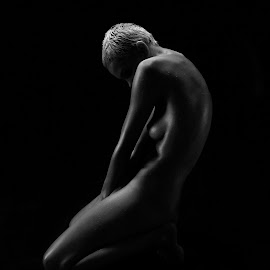 Into the Dark by Patrick Pak - Nudes & Boudoir Artistic Nude ( #beauty, #b&w, #nude, #shadow, #lights )