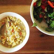 Creamy Corn Chowder with Potatoes and Bacon