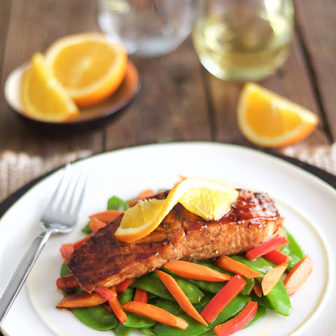 Pomegranate and Orange-Glazed Salmon with Stir-Fried Vegetables