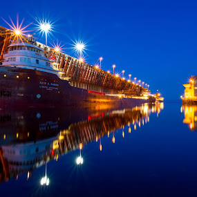 Blue Hour Boats by Beaver Tripp - Transportation Boats ( shipping, boats, lake superior, ships, marquette )