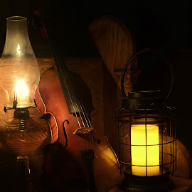 Should the Whaleboats Return by Tim Hall - Artistic Objects Antiques ( candlelight, still life, 19th century, musical instraments, low light, lamp light, existing light, candle, lantern, oil lamp, violin, siddle, nineteenth century, antiques, stringed,  )