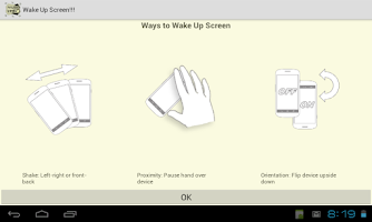 Screenshot of Wake Up Screen