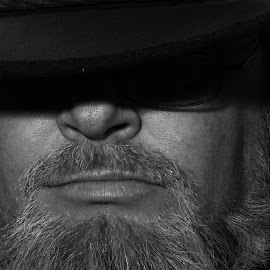 Self #3 by Andy Turp - People Portraits of Men ( selfie, monochrome, shadow, copyright andy turp, beard, selfy, black, hat, Selfie, self shot, portrait, self portrait )
