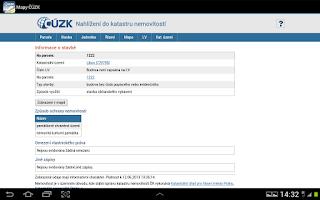 Screenshot of Mapy ČÚZK