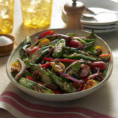 Tim Love's Charred Okra, Tomato and Pecan Salad with Balsamic Mayonnaise